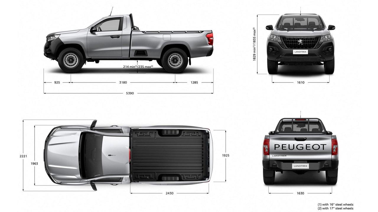 Nuevo pick-up PEUGEOT LANDTREK dimensiones cabina sencilla